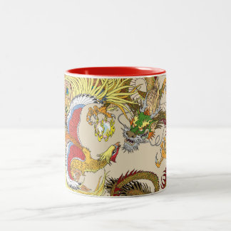 Chinese dragon and phoenix Two-Tone coffee mug