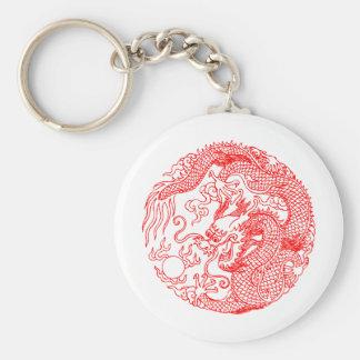 Chinese Dragon Basic Round Button Keychain