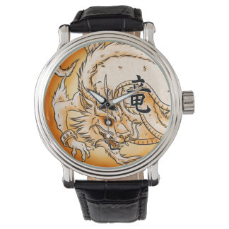 Chinese Dragon Black Vintage Leather Watch
