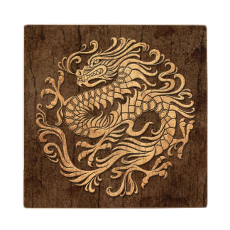 Chinese Dragon Circle with Wood Grain Effect Wood Coaster