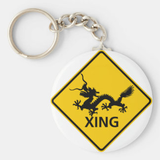 Chinese Dragon Crossing Highway Sign Keychain