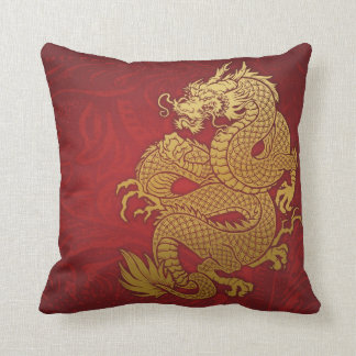 Chinese Dragon Gold and Red Throw Pillows
