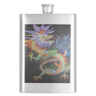Chinese Dragon Hip Flask