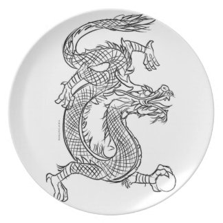 Chinese Dragon Line Drawing Sketch Eastern Fantasy Plate