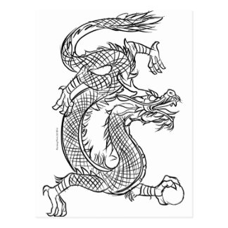 Chinese Dragon Line Drawing Sketch Eastern Fantasy Postcard