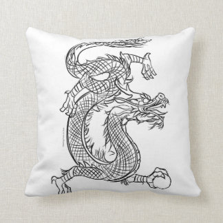 Chinese Dragon Line Drawing Sketch Eastern Fantasy Throw Pillow