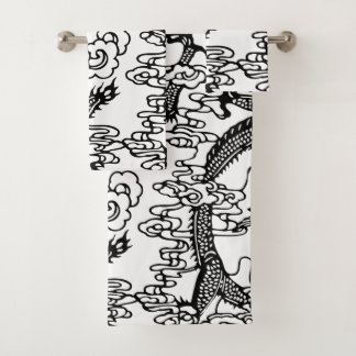 Chinese Dragon Pattern Bath Towel Set