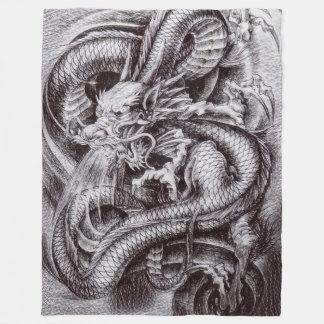 Chinese Dragon Sketch Fleece Blanket