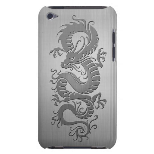 Chinese Dragon, Stainless Steel Effect Barely There iPod Cases