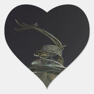 Chinese Dragon Statue Heart Sticker