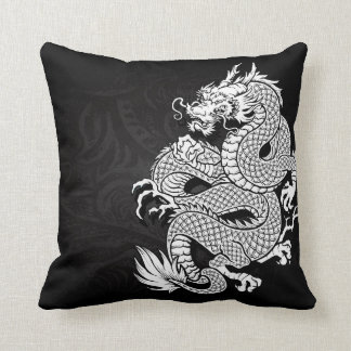 Chinese Dragon White and Black Throw Pillow