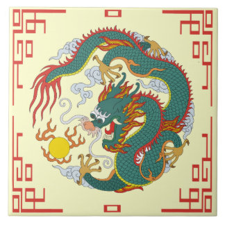 Chinese Dragon with Red Border Decorative Tile