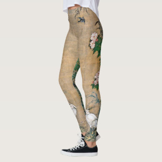Chinese Egret Bird Flowers All Over Print Legging