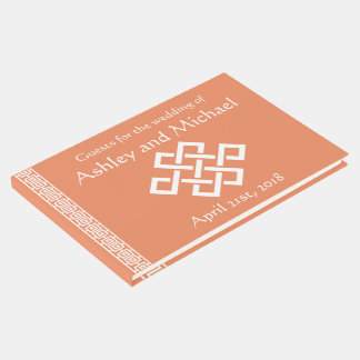 Chinese Elegance in Coral Guest Book