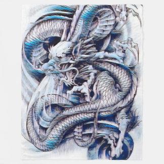 Chinese Emperor Dragon Gouache Fleece Blanket