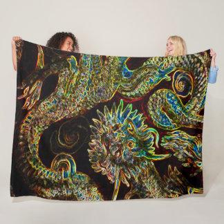 Chinese Emperor Dragon Neon Fleece Blanket