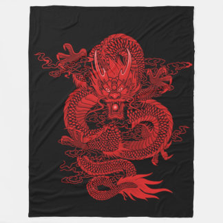 Chinese Emperor Fire Dragon Fleece Blanket