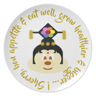 Chinese Female Hat 鮑 鮑 Melamine Plate