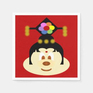 Chinese Female Hat 鮑 鮑 Paper Napkin