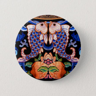 Chinese Fish Embroidery 2 Inch Round Button