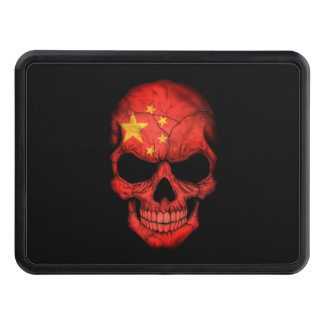 Chinese Flag Skull on Black Trailer Hitch Cover
