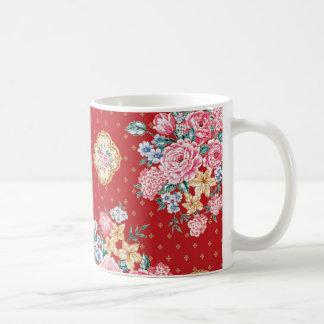Chinese floral print classic white mug