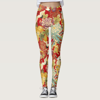 Chinese Floral Print Leggings