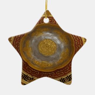 Chinese flower plaque ceramic ornament
