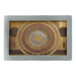 Chinese flower plaque rectangular belt buckles