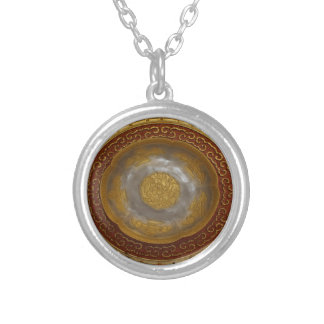 Chinese flower plaque silver plated necklace