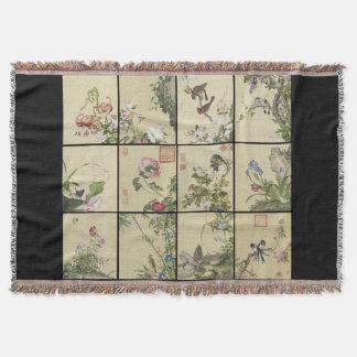 Chinese Flowers & Birds Art Collage Throw Blanket
