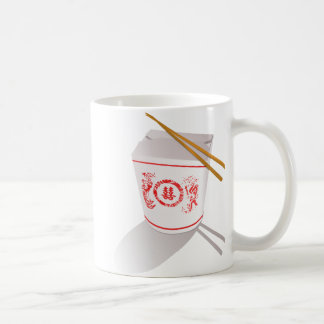Chinese food take out box chopsticks graphic coffee mug