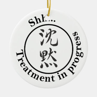 "Chinese for ""Silence"" Door Hangers Ceramic Ornament"