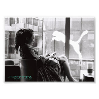 Chinese girl drinking coffee 7''x5'' photo print