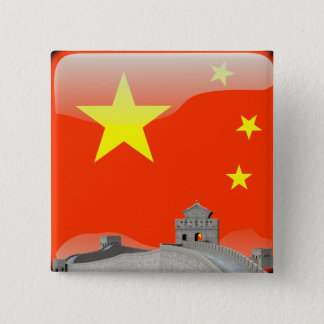 Chinese glossy flag 2 inch square button