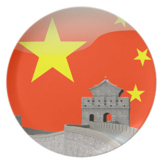Chinese glossy flag dinner plates
