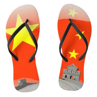 Chinese glossy flag flip flops