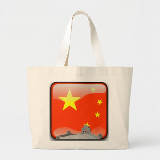 Chinese glossy flag large tote bag