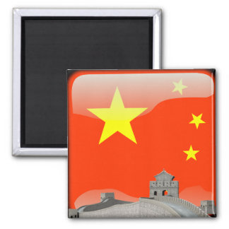 Chinese glossy flag square magnet