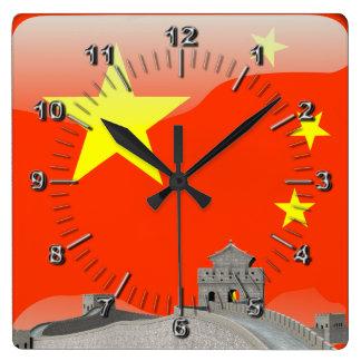 Chinese glossy flag wallclock