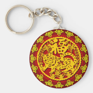 Chinese Good Fortune Symbol Basic Round Button Keychain