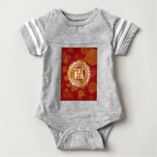 Chinese Good Fortune Text Abstract Bats Red Baby Bodysuit