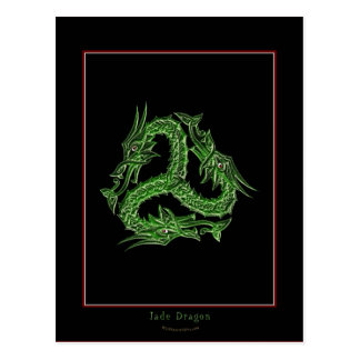 CHINESE GREEN DRAGON Design Postcard
