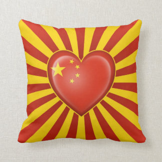 Chinese Heart Flag with Star Burst Throw Pillow