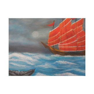 Chinese junk boat canvas print