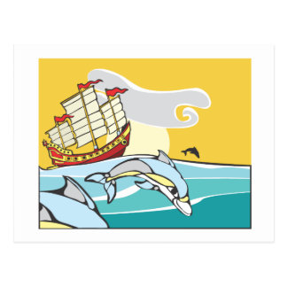 Chinese Junk with dolphins. Postcard