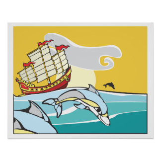 Chinese Junk with dolphins. Poster