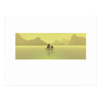 Chinese Junk yellow Postcard