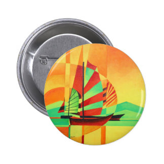 Chinese Junks Sail to Shore 2 Inch Round Button