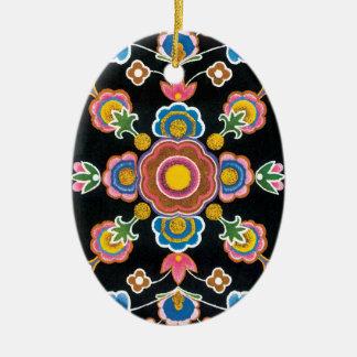 Chinese Kazakh Design 06 Ceramic Oval Ornament